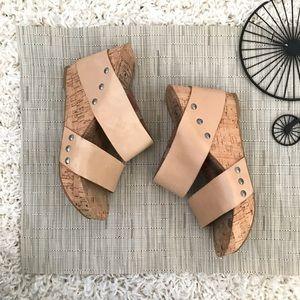 Lucky Brand LK-Magnolia Tan Wedge Cork Sandals